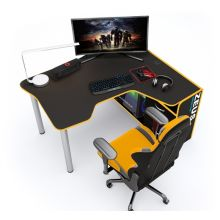 Геймерский угловой стол  ZEUS™ IGROK-TOR, черный/желтый