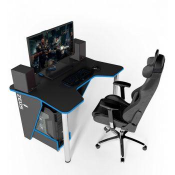 Геймерский игровой стол ZEUS™ IGROK-3, черный/синий                                                  .