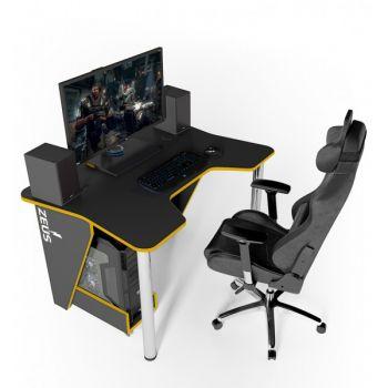 Геймерский игровой стол ZEUS™ IGROK-3, черный/желтый                                                          .