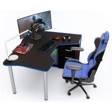 Геймерский стол  ZEUS™ IGROK-TOR, черный/синий