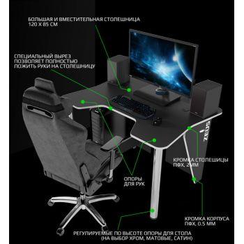 Геймерский игровой стол ZEUS™ IGROK-3, черный/белый                                             .