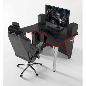 Геймерский игровой стол ZEUS™ IGROK-3, черный/красный                                                        .