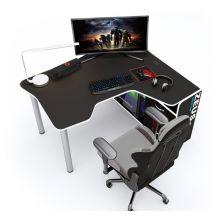 Геймерский угловой стол  ZEUS™ IGROK-TOR, черный/белый