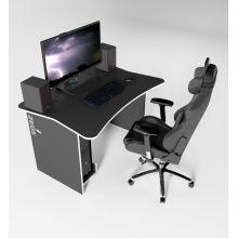 Игровой геймерский стол ZEUS™ ZET-1 (120 х 85 см), черный/белый