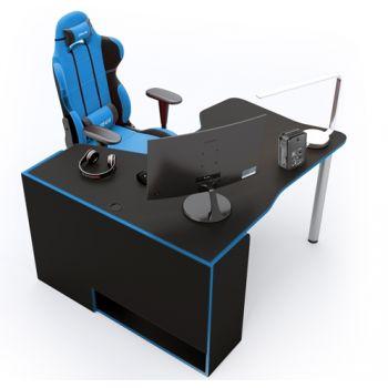 Геймерский угловой стол  ZEUS™ IGROK-TOR, черный/синий