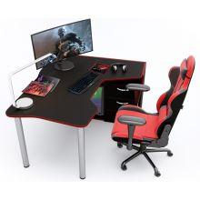 Геймерский угловой стол  ZEUS™ IGROK-TOR, черный/красный