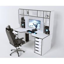 Геймерский эргономичный стол ZEUS™ Viking-3L, 180х92 (87) см, белый/черный