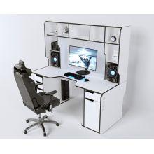 Геймерский эргономичный стол ZEUS™ Viking-4L, 180х92 (87) см, белый/черный